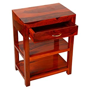 Santosha Decor Pre-Assemble Sheesham Wood Table with Drawer Bedside Table/Sofa Table/End Table/with 2 Tier & 1 Drawer(Natural Teak Finishing) -Living Room Furniture with Special PU Polish