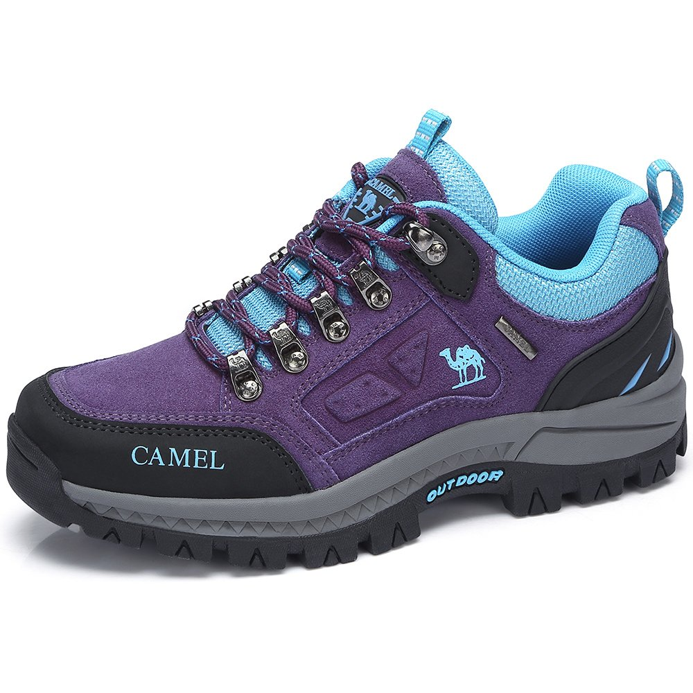 CAMEL CROWN Women's Outdoor Leather Hiking Shoes Breathable Lightweight Sneaker for Walking Trekking Purple/Blue 250 CN