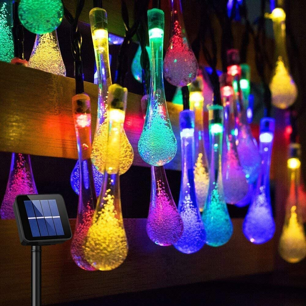 Urlaub Party Terrasse Garten Goodia Multi Farbe 4,8 m 20 LED-Eiszapfen-Lichtern solarbetriebene Regentropfen Garten Lichterkette//LED Wasserdicht Dekorative Lichter f/ür Outdoor Weihnachten