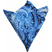 Blacksmith Men's Satin Printed Pocket Square (Blue, Free size)