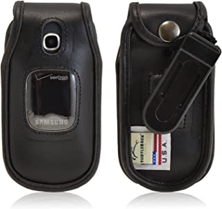 product image for Turtleback Holster Compatible with Samsung Gusto 3, Executive Black Leather Case Flip Phone Case with Ratcheting Belt Clip - Made in USA