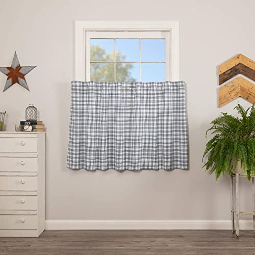 VHC Brands Sawyer Mill Blue Light Filtering Plaid Pattern Farmhouse Tier Set for Window 36×36 Curtain