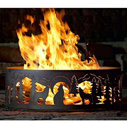 Image Unavailable - Amazon.com: 48 Inch Fire Ring - Wolves Steel Fire Pit: Garden & Outdoor
