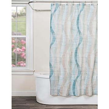 Amazon.com: Sketchbook Waves Blue Fabric Shower Curtain: Home ...
