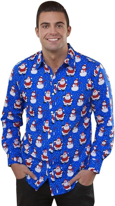 Yaohxu Camisa de Navidad, Camisa de muñeco de Nieve con Estampado de árbol de Navidad, Manga Larga, Camisa de Navidad de Talla Grande, Hombre, Azul, XX-Large: Amazon.es: Deportes y aire libre