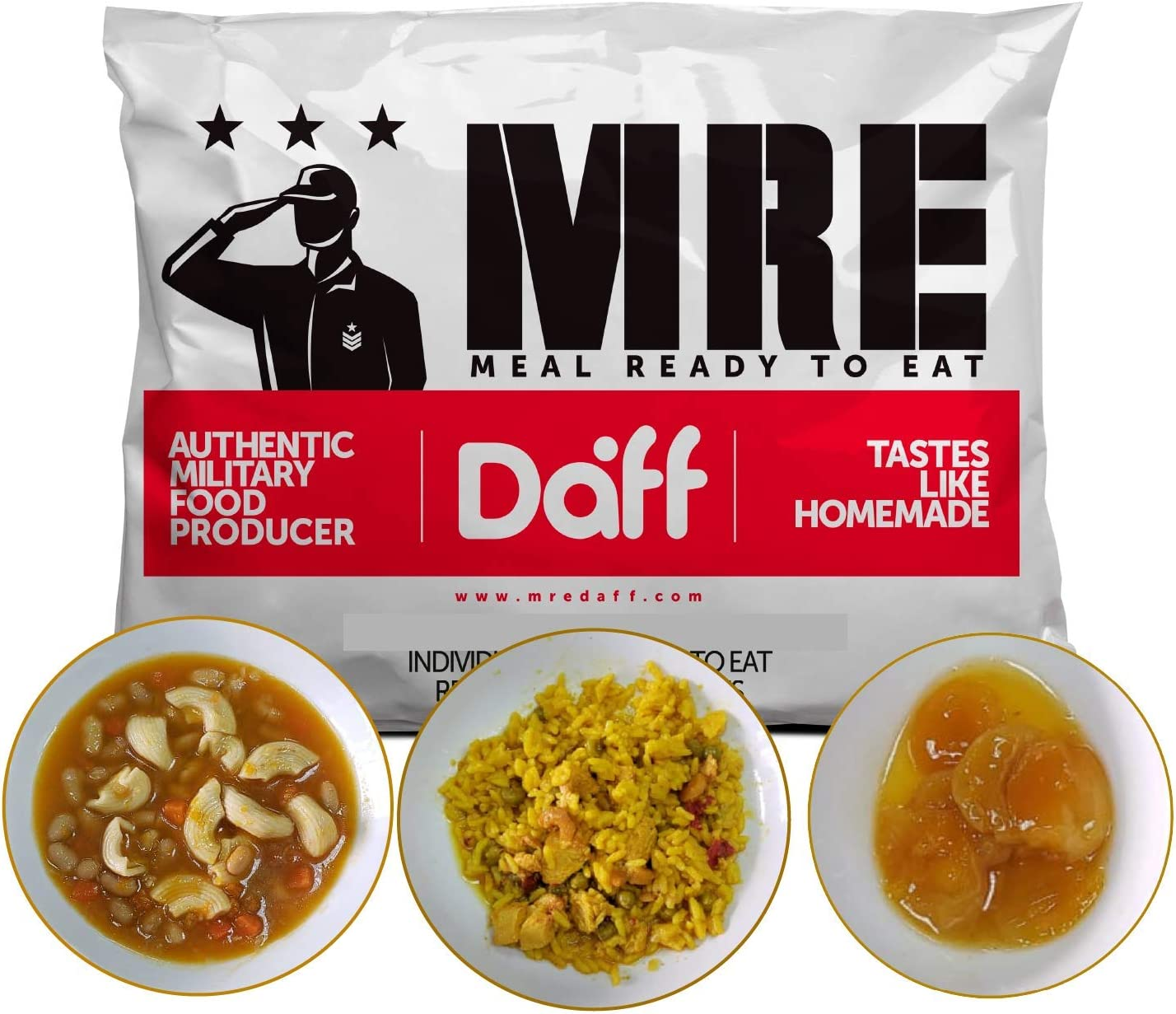 MRE Meals Military Style by DAFF. Full Day Pack 1 (1 Apricot Breakfast, 1 Pasta Meal, 1 Paella Meal) (3 Single Meals). Full MRE for Camping, Survival and as Emergency Food. [1000 Calories/Bag]