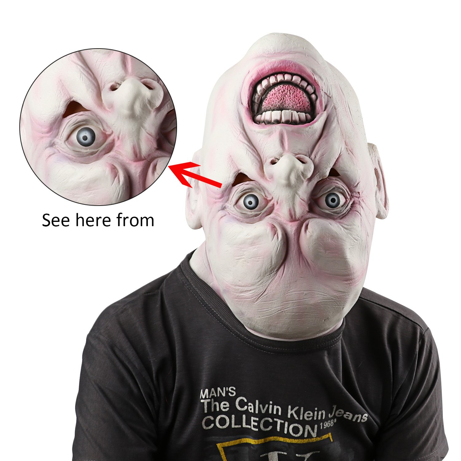 d5cc1472 Supmaker Halloween Horror Masks Scary Latex Mask Halloween Costume Party  Latex Upside down Full Head Mask: Amazon.co.uk: Pet Supplies