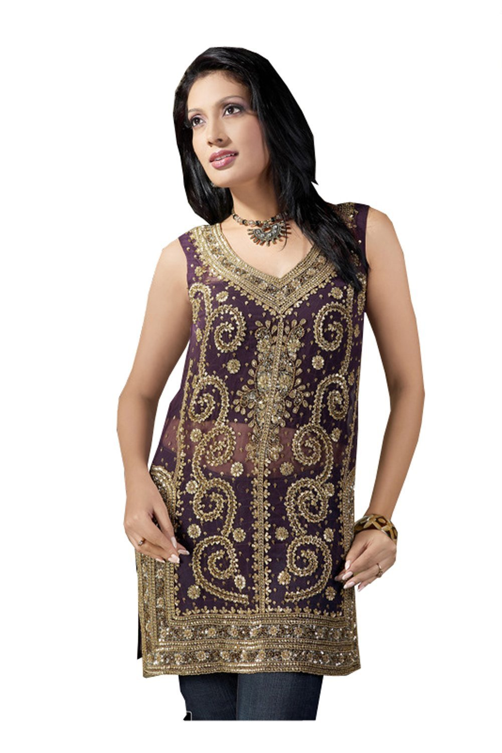 Fashion Sleeve Less Georgette Tunic Full Stone Work Top (xs)