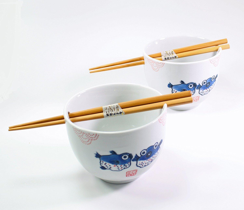 ラーメンボウル [Set of 2] Japanese Porcelain Ceramic Bowls w Chopsticks Ramen Soup Noodle Porridge Menudo Ramen Udon Pasta Cereal Ice cream Pho Rice Instant Noodle ~ We Pay Your Sales Tax (Puffer Fish)