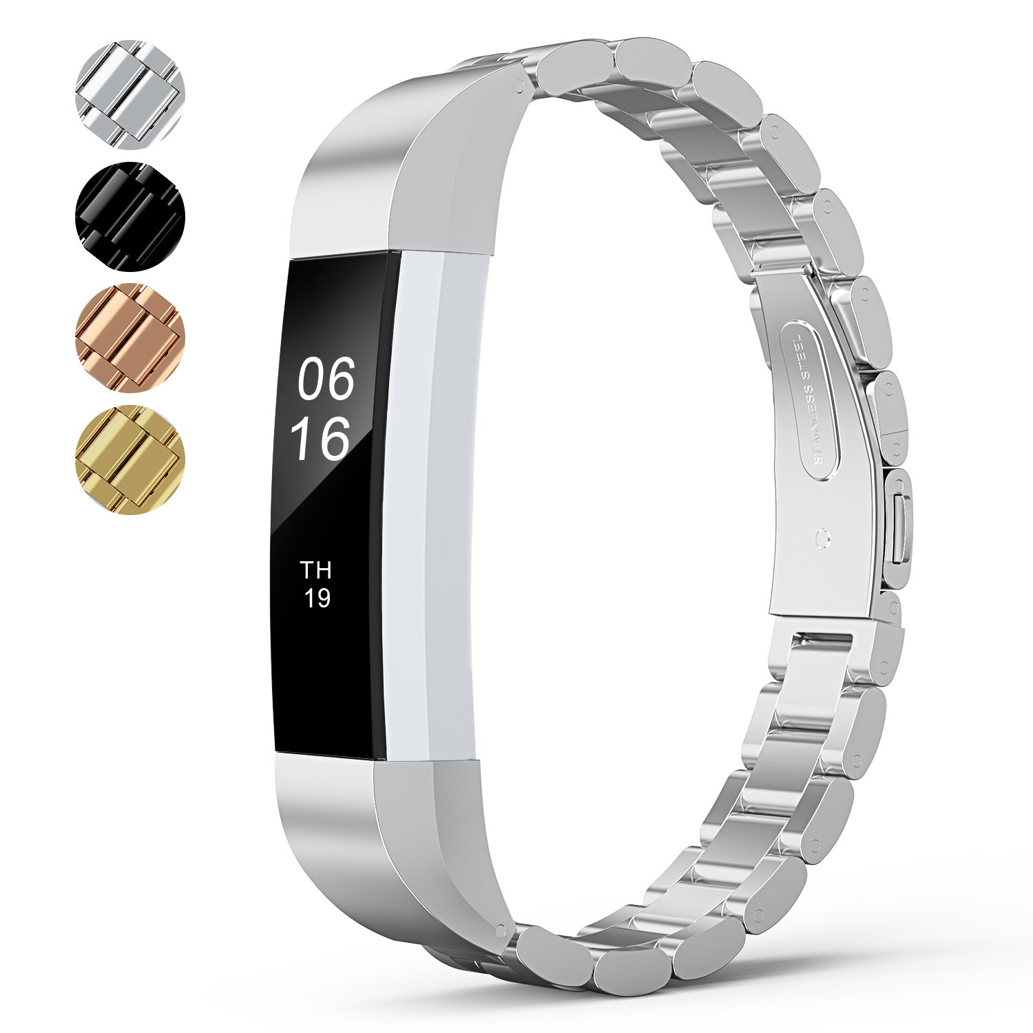 For Fitbit Alta HR Bands Adustable Replacement Steel Stainless Accessory Fitbit Alta Smartwatch Fitness Tracker Small large for Men & Women Alta Wristbans (Silver 1)