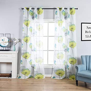 Taisier Home Yellow Flower And Daisy Sheer Curtains Floral Design For Girls  Nursery Bedroom Decor Home