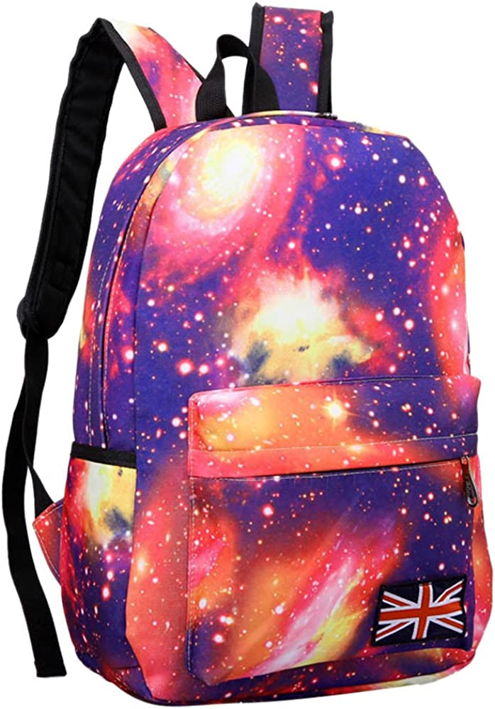 LEKODE Starry Sky Pattern Unisex Travel Backpack Canvas Leisure Bags School Bag