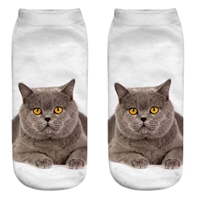 SDCXV Zapatillas de deporte impresas 3D del gato de las mujeres calcetines del tobill: Amazon.es: Ropa y accesorios