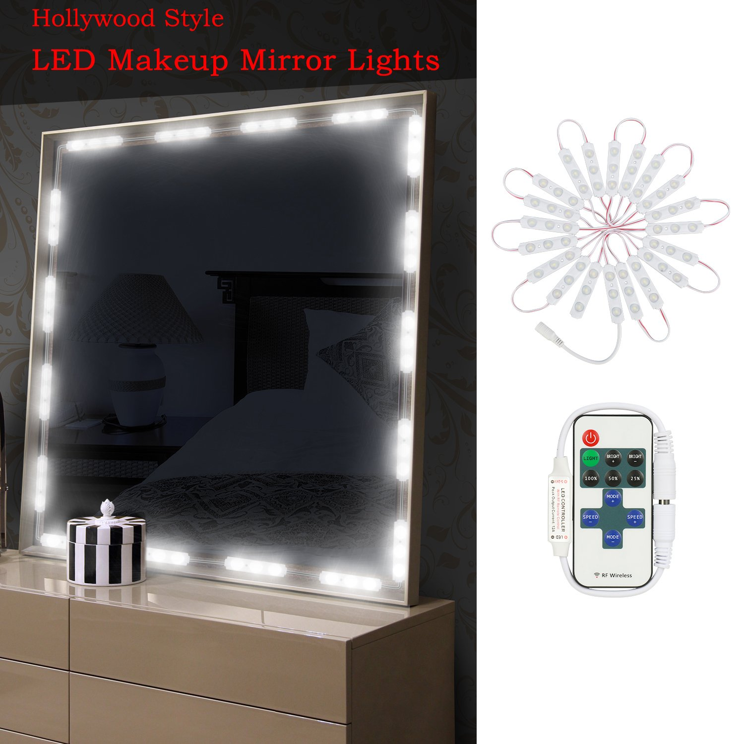 HogarTech Makeup Vanity Mirror Lights, 10 Levels Dimmable 60 LEDs 9.8FT DIY LED Make-up Light Kit 2800LM for Cosmetic Mirrors with Remote Control - 6000K, White