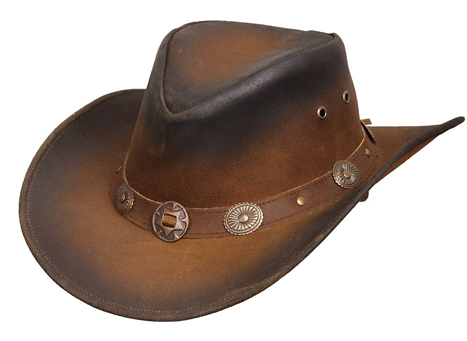 829b841f48d New Leather Cowboy Western Aussie Style HAT Conchos Size S-XXL