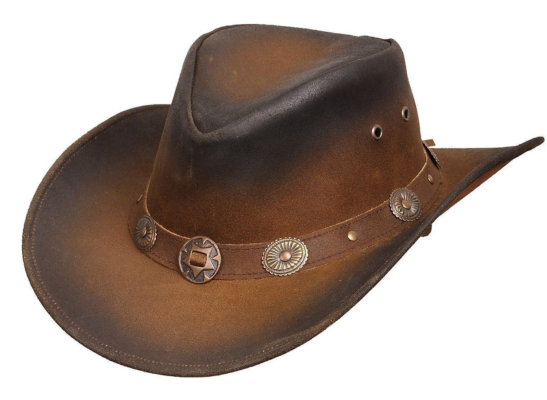 New Leather Cowboy Western Aussie Style HAT Conchos Size S-XXL d186bd1bcfd7