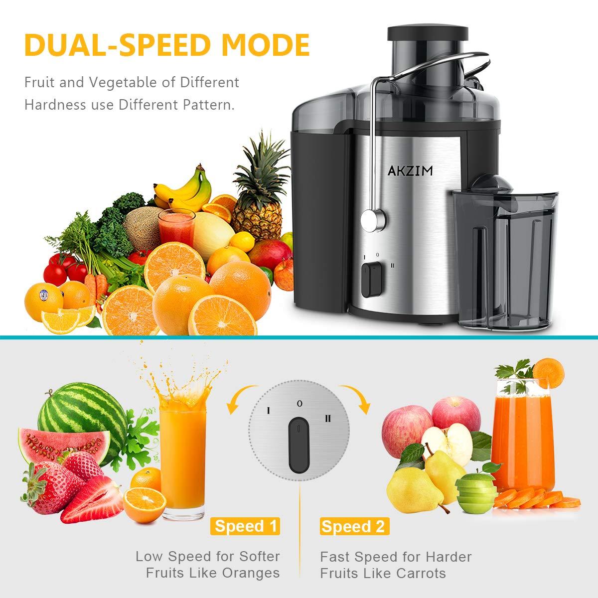 Licuadoras de frutas, AKZIM Exprimidor y Extractor de Zumos Exprimidor Centrífugo de velocidad dual para jugo de frutas y verduras, Máquina de jugo sin boca ...