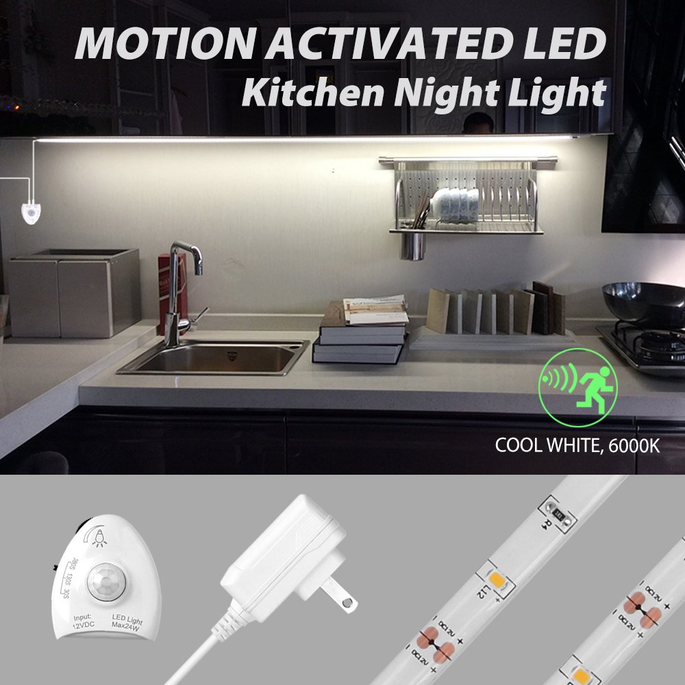 Motion Activated LED Strip Light, 5ft/1.5m Under Cabinet Light, Dimmable, 12V Power Supply, Optional Timer. [Cool White, 1Pack]