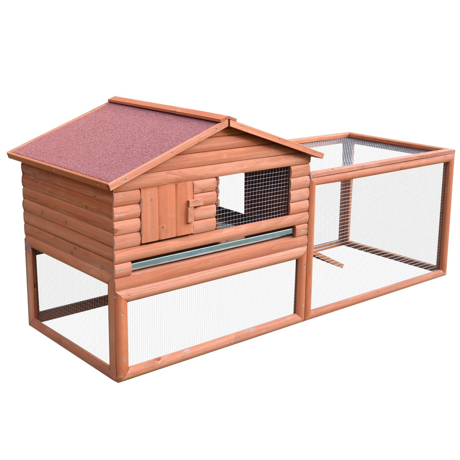 PawHut 62'' Large Outdoor Rabbit Cage Small Animal Hutch Playpen With Run by PawHut