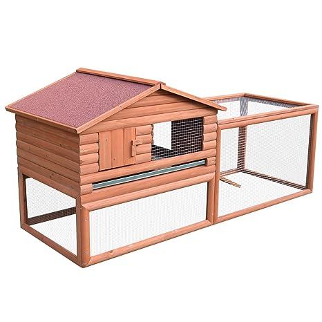 PawHut exterior Guinea Pig Pet Casa/Hutch Habitat de conejo con Run
