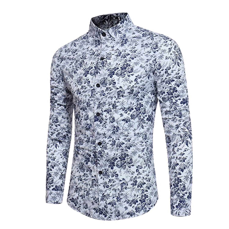 New Mens Long Sleeve Casual Shirt Rose Flower 3D Printed Floral Shirt Turn-Down Collar