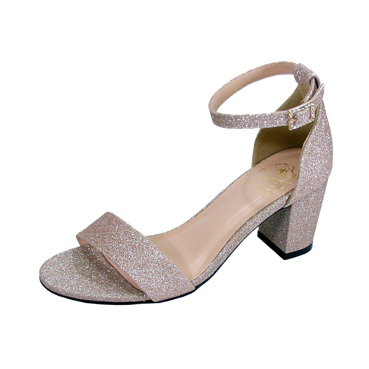Women's Adele  Champagne Glitter Satin Wide Width Block Heel Ankle Strap Dress Sandals - DeluxeAdultCostumes.com