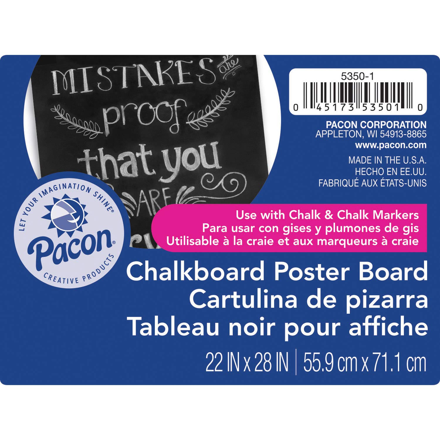 Pacon PAC53501 Premium Chalkboard Poster Board, Black, 22'' x 28'', 25 Sheets by PACON