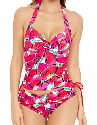f65877f805 Figleaves Womens Bahama Underwired Halter Tankini Top Size 38G in Pink:  Amazon.co.uk: Clothing