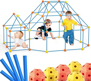 Lucky Doug 140 PCS Fort Building Kit Set for Kids, Construction Fort Builders Building STEM Toys for 3 4 5 6 Year Olds Kids Boys Girls, DIY Fun Fort Building Castles Tunnels Play Tent Tower Outdoor