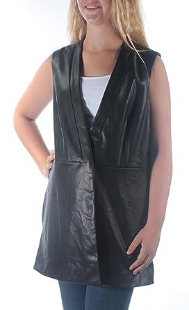 b3d398d66c2 Alfani Womens Faux Leather Button Front Outerwear Vest Black M at Amazon  Women s Clothing store