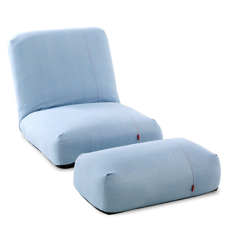 LOWYA (ロウヤ) 座椅子 オットマン付 リクライニング 42段ギア ポケットコイル ソファー 1人掛け ライトブルー おしゃれ 新生活 B071F4L1PF ライトブルー ライトブルー