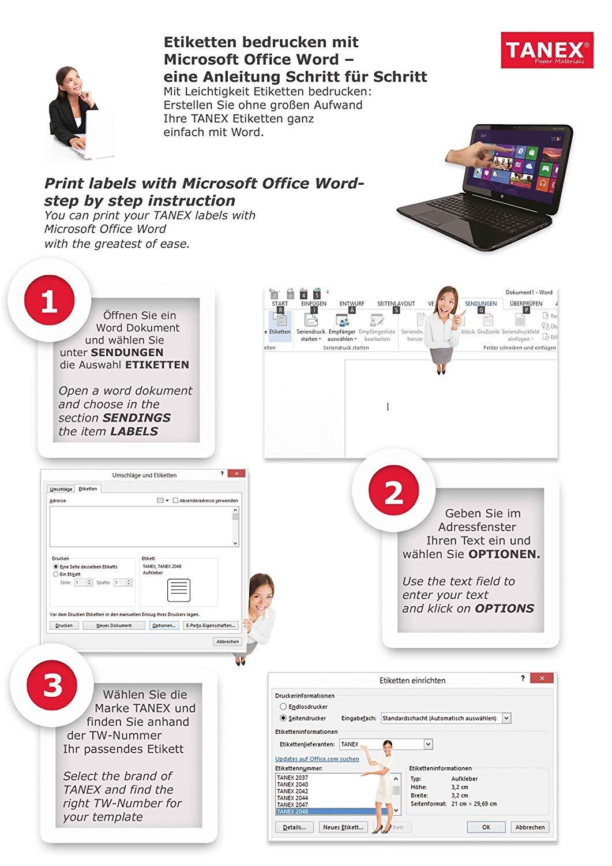 100 Etiketten TANEX TW-2010 P/äckchen- // Adressetiketten 10 Blatt DIN A4 99,06 x 57 mm selbstklebend wei/ß bedruckbar