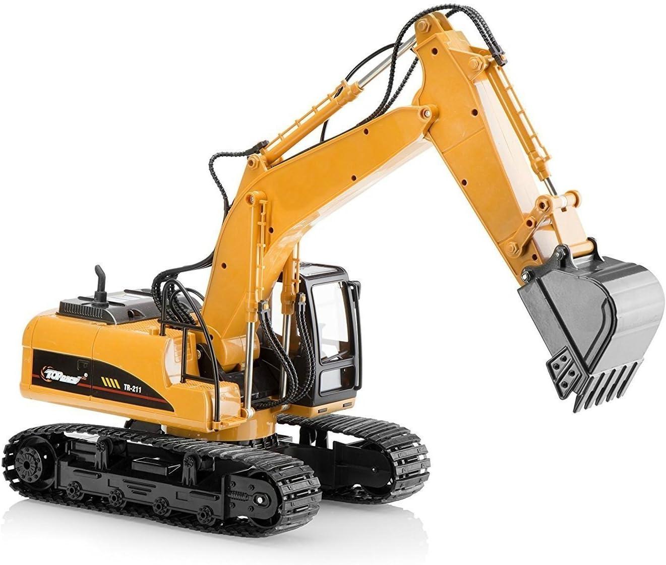 Top Race Metal Die Cast Excavator Construction Tractor de construcción, Juguete de excavadora con - Pala de metal - TR-211D