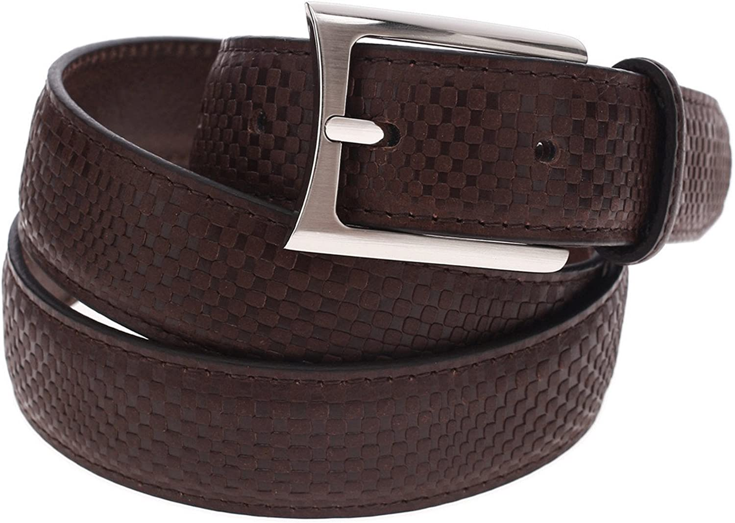 FLATSEVEN Mens Check Plaid Leather Belt with Square Buckle