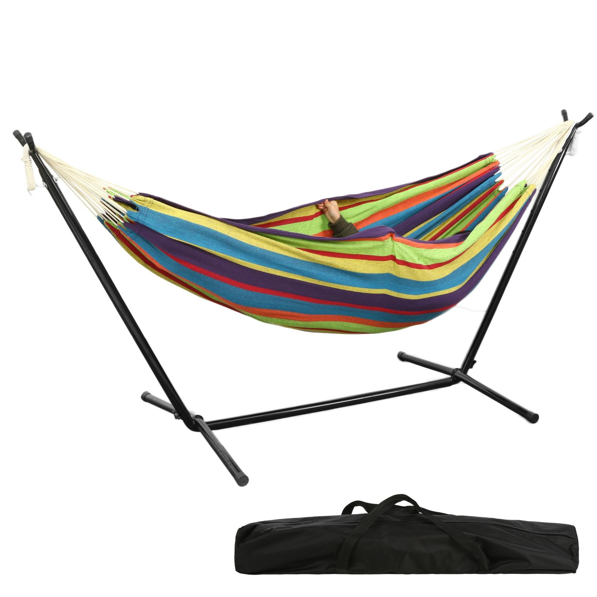 Hindom Double Hammock with Space Saving Steel Stand Outdoor & Indoor, Portable for Travel Vacation (Tropical)