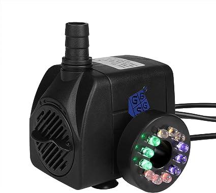 Fuentes de Agua Potable RIOGOO Bomba de Agua Sumergible para Fuente para Mascotas de 2,5 litros con luz LED con Cable de alimentaci/ón Fuente de Repuesto para Gatos con Bomba para Mascotas Gatos