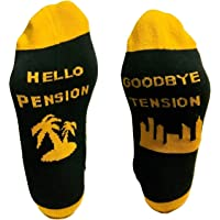 Funny Socks for Retirement Gift - Goodbye Tension Hello Pension Unisex One Size Fits All