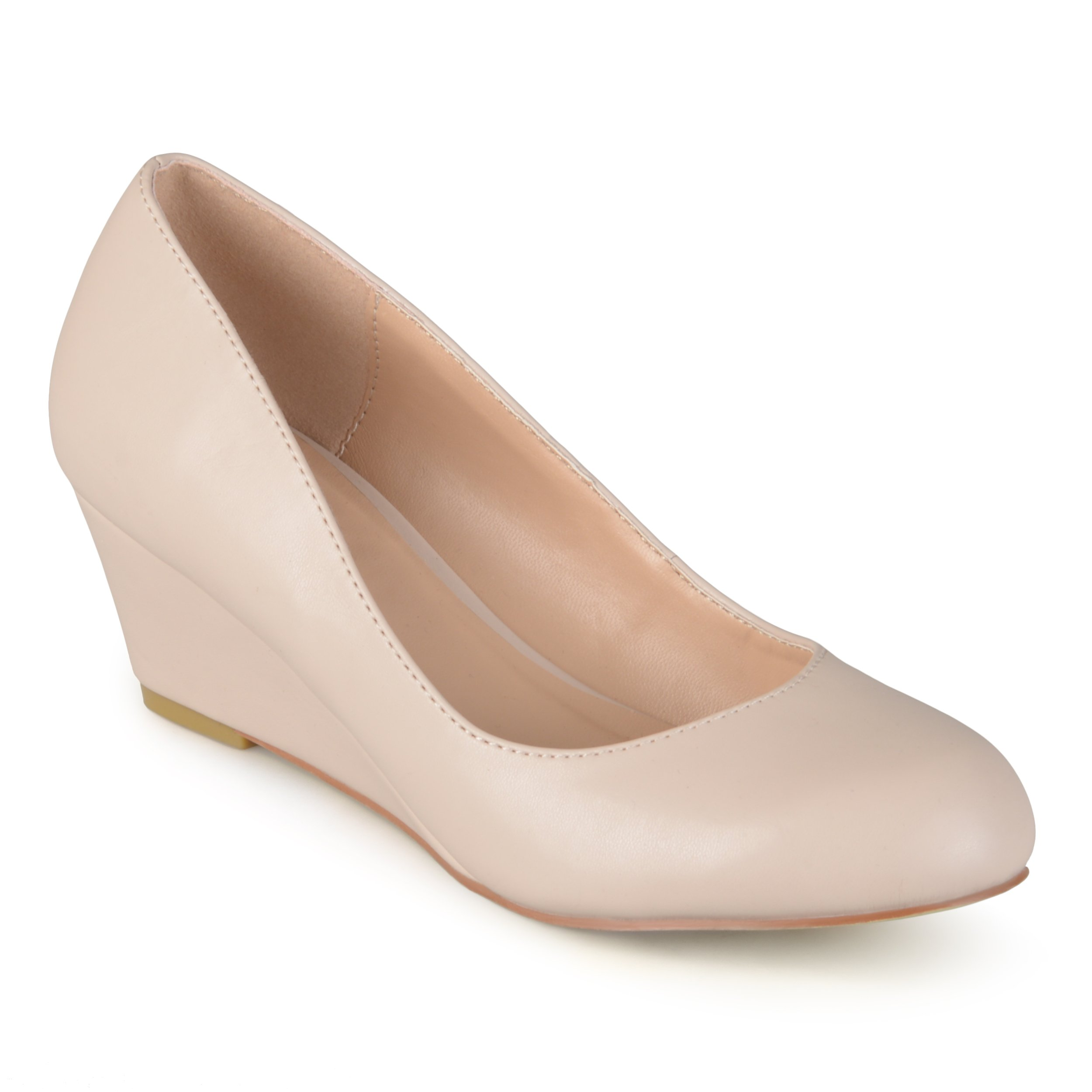 Journee Collection Women's Classic Round Toe Wedges Nude, 10 Wide Width US