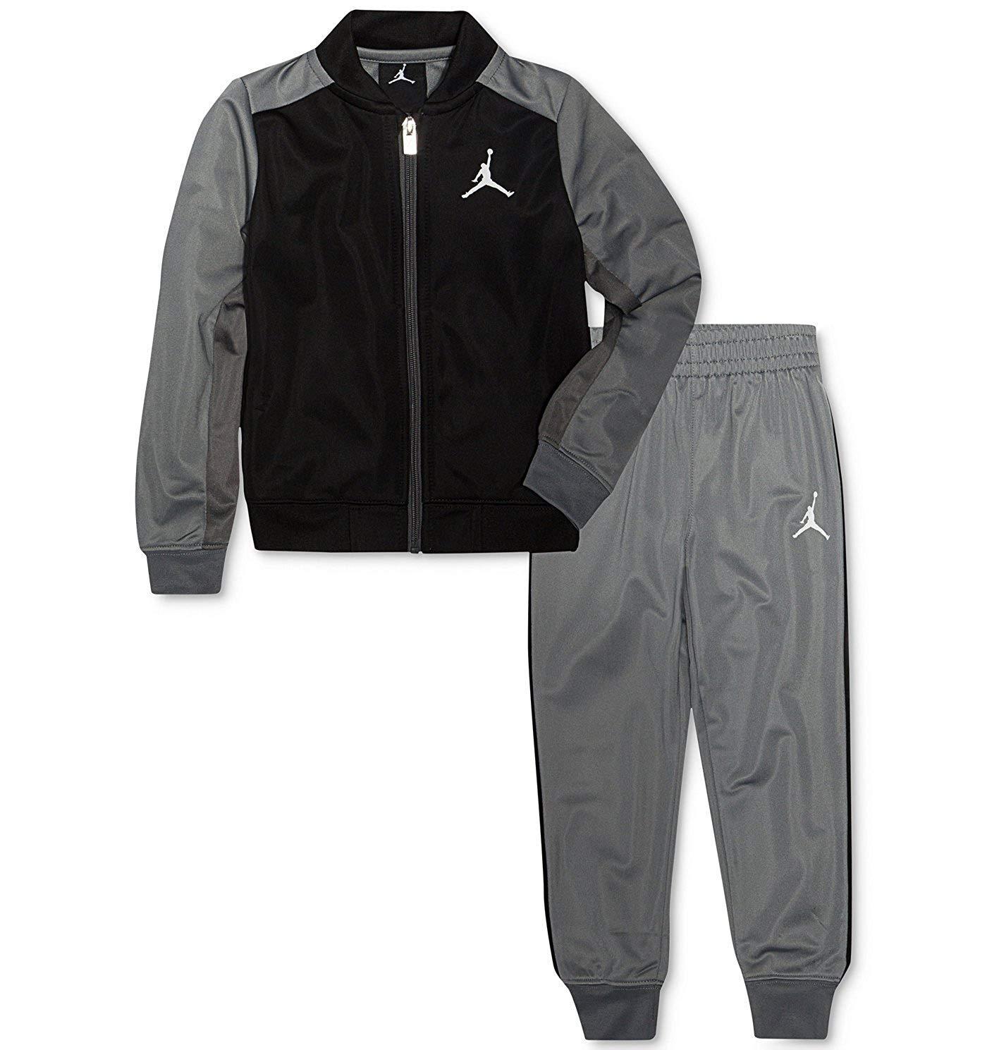 Jordan Nike Air Little Boys Tricot Tracksuit Jacket & Pants Set (Black/Grey, 6)
