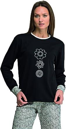 Pijama mujer negro invierno Even fabricado en España (7937) Talla XL: Amazon.es: Ropa y accesorios