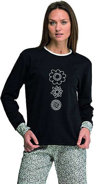 Pijama mujer negro invierno Even fabricado en España (7937) Talla ...