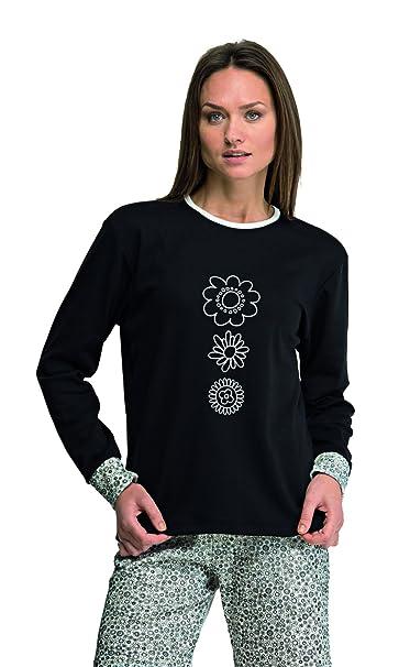 Pijama mujer negro invierno Even fabricado en España (7937) Talla XXL