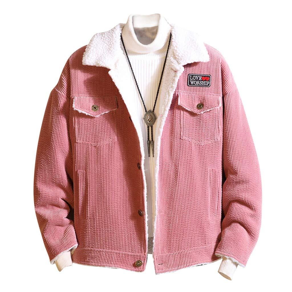 Allywit Men's Vintage Slim Sherpa Lined Shearling Corduroy Trucker Jacket Cardigan Warm Coat Outerwear by Allywit-Mens