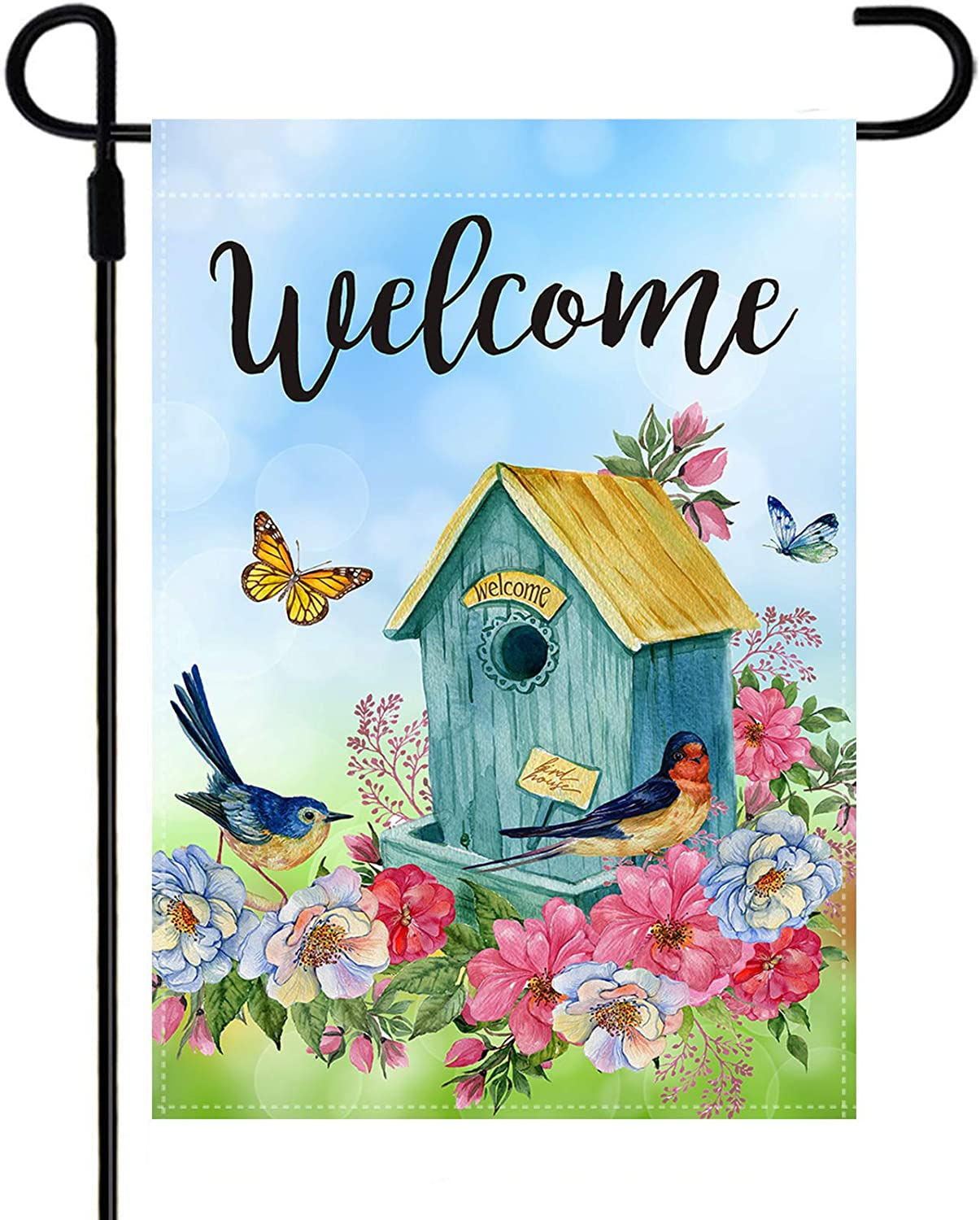 Yileqi Spring Summer Garden Flag Double Sided Watercolor Flowers Bird Butterfly Welcome Garden Flag, Seasonal Yard Flag 12.5 x 18 Inch Outdoor Decoration