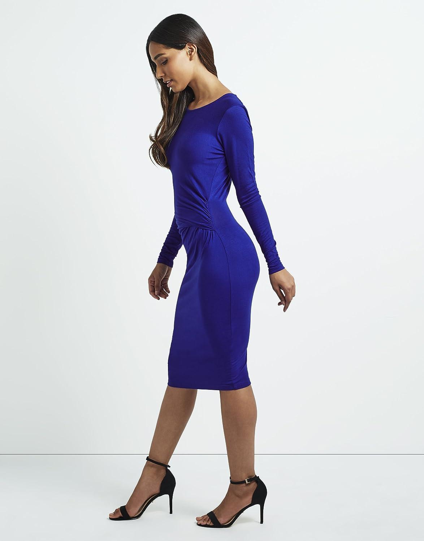 Lipsy Womens Long Sleeve Crew neck Bodycon Knot Detailed Midi Dress ...