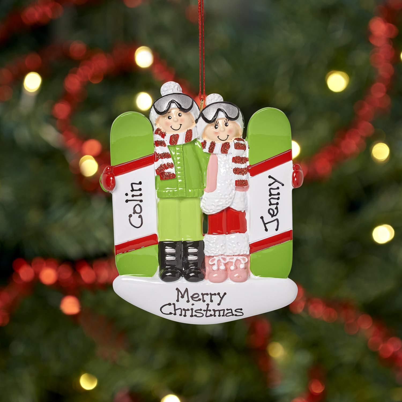 Ski /& Snowboard Couple Personalised Family Christmas Xmas Tree Bauble Decoration Ornament