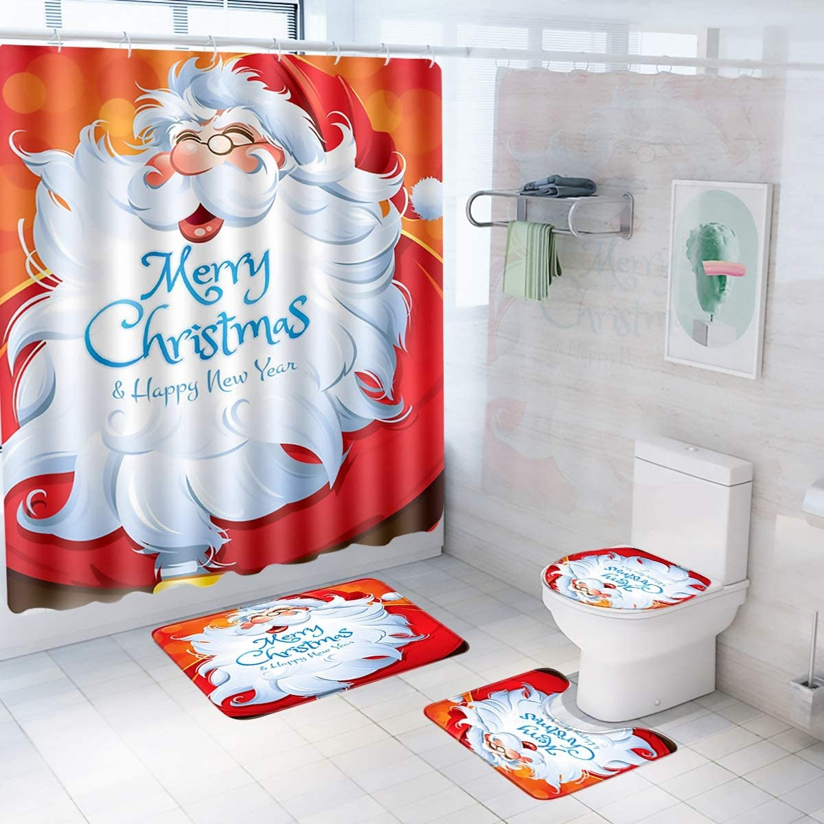 Patimate Christmas Bathroom Sets Decorations (Santa Toilet Seat Cover,  Non-Slip Christmas Bath Mat Set/Rugs, Christmas Santa Shower Curtain),