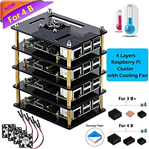 iUniker Raspberry Pi Cluster Case, Raspberry Pi Case with Cooling Fan and Raspberry Pi Heatsink for Raspberry Pi 3 Model B+, Pi 3 B, Pi 2 B, Pi B+ (4 Layers-Brown)