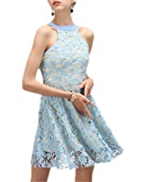 SuperBlu Sexy autumn winter halter backless O-Neck hollow out lace dress blue white