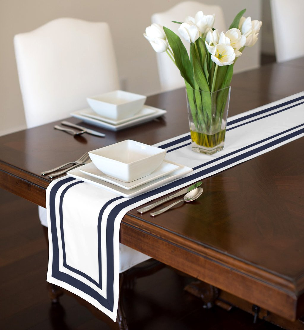 White and Navy Blue Modern Contemporary Stripe Hotel Collection Table Runner Mat Topper 12'' x 90''